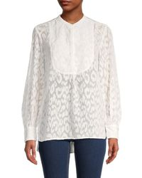 French Connection Asante Coupe Textured Top - White