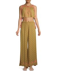 Free People - Hearts Rising Two-piece Embroideredcropped Top & Trousers Set - Lyst