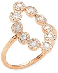 Saks Fifth Avenue Women's 14k Rose Gold & 0.72 Tcw Diamond Ring - Size 7 - Metallic