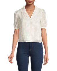 Dress Forum Floral Jacquard Button-down Top - White