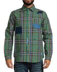 PRPS Men's Scribble Embroidered Patch Plaid Shirt - Green - Size S