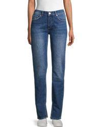 Ganni Split-cuff Tapered Jeans - Blue