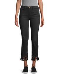 FRAME Le High Straight Fringe-hem Jeans - Black