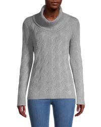 Calvin Klein Women's Chain-stitch Turtleneck Jumper - Blush - Size M - Grey