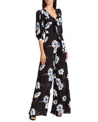 Michael Kors Women's Puff-sleeve Floral Silk Jumpsuit - Cadet - Size 6 - Black