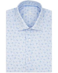 Bertigo Modern-fit Printed Poplin Short-sleeve Shirt - Blue