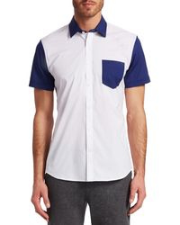 Saks Fifth Avenue Modern Colorblock Woven Shirt - White