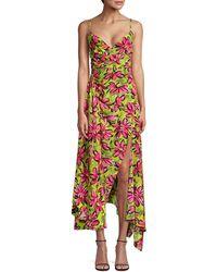 Michael Kors Wrap-effect Floral-print Silk Crepe De Chine Midi Slip Dress Chartreuse - Multicolor