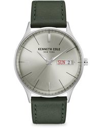 Kenneth Cole Classic Stainless Steel Leather-strap Watch - Metallic