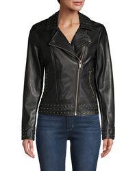 Karl Lagerfeld Studded Faux Leather Jacket - Black