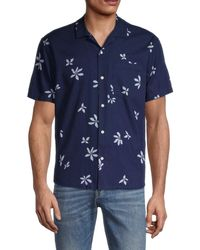 Madewell Easy-fit Floral Short-sleeve Shirt - Blue