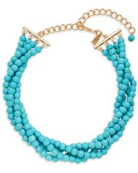 Kenneth Jay Lane Women's Turquoise Bead Collar Necklace - Blue
