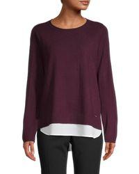Calvin Klein Women's Crewneck Twofer Jumper - Aubergine - Size M - Purple