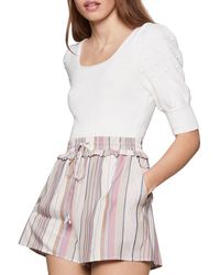 BCBGeneration Cropped Puff Sleeve Sweater - White