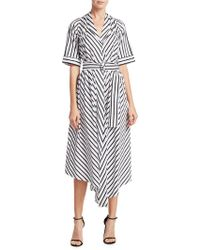 Adam Lippes - Striped Asymmetric Dress - Lyst