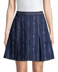 Tory Burch Women's Gemini Jacquard Denim Mini A-line Skirt - Gemini Blue - Size 6