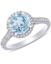 Saks Fifth Avenue Women's 14k White Gold, Aquamarine & Diamond Halo Engagement Ring - Size 5 - Multicolour