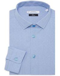 Versace Men's Trend-fit Dot-print Dress Shirt - Sky - Size 18 44 - Blue