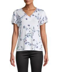 Calvin Klein Women's Floral Tiered-sleeve Top - White Multi - Size Xl