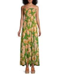 Free People Women's Sophia Smocked Floral Jumpsuit - Avocado Combo - Size Xl - Green