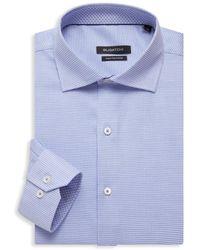 Bugatchi Regular-fit Bird's Eye Dress Shirt - Blue