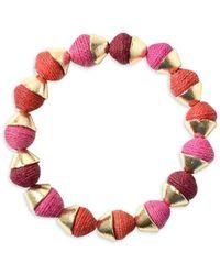 Akola Goldtone & Raffia Stretch Bracelet - Red