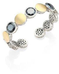 John Hardy - Hematite, 18k Yellow Gold & Sterling Silver Dot Cuff Bracelet - Lyst