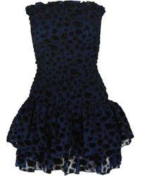 Maje Women's Strapless Leopard Cocktail Dress - Blue - Size 3 (l)