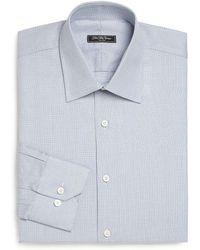 Saks Fifth Avenue Regular-fit Textured Cotton Dress Shirt - Blue