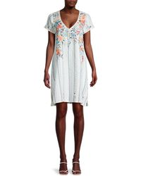 Johnny Was Norah Floral & Stripe Tunic Dress - White