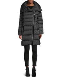 Tahari Women's Brooklyn Asymmetrical-zip Down Puffer Coat - Mink - Size Xs - Grey