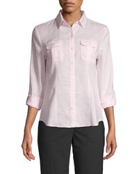 Saks Fifth Avenue Point-collar Linen Shirt - Purple