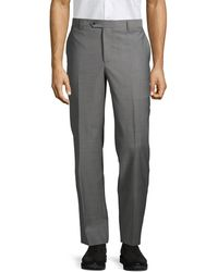 Saks Fifth Avenue Classic Wool Trousers - Gray