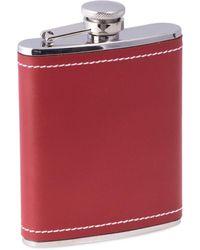Bey-berk Stainless Steel & Leather Flask - Red