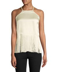 Plenty by Tracy Reese - Fringed Silk Halter Top - Lyst