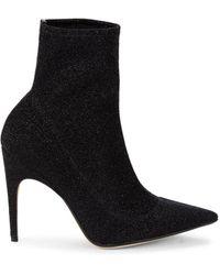 Sergio Rossi - Women's Nero Glitter Heeled Booties - Nero - Size 35.5 (5.5) - Lyst