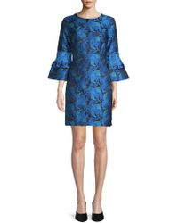 Belle By Badgley Mischka - Embroidered Bell-sleeve Shift Dress - Lyst