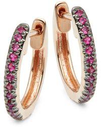 Saks Fifth Avenue 14k Rose Gold & Pink Sapphire Hoop Earrings