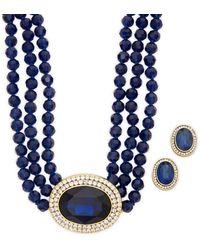 Heidi Daus Blue Oval Necklace & Earrings Set
