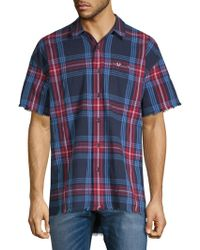 True Religion - Plaid-print Short-sleeve Button-down Shirt - Lyst