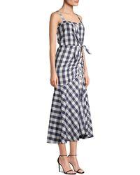 Likely Minka Ruched Gingham Midi Dress - Blue