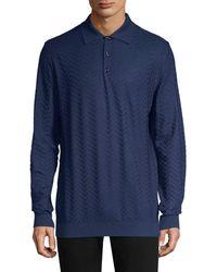 Larusmiani - Long-sleeve Wool Jacquard Polo - Lyst