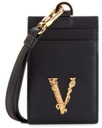 Versace Virtus Logo Leather Neck Card Holder - Black