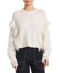 3.1 Phillip Lim Fringe-trim Crewneck Sweater - Gray