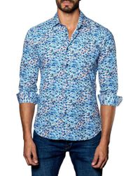 Jared Lang - Floral-print Trim-fit Button-down Shirt - Lyst