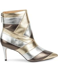 Schutz Samaira Patchwork Metallic Leather Ankle Boots