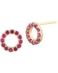 Saks Fifth Avenue Women's 14k Yellow Gold & Ruby Circular Stud Earrings - Red