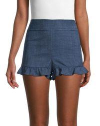 BCBGeneration Ruffle-hem Shorts - Blue