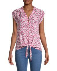 Bobeau Floral Tie-front Blouse - Multicolour