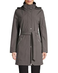 Calvin Klein Belted Hooded Coat - Black
